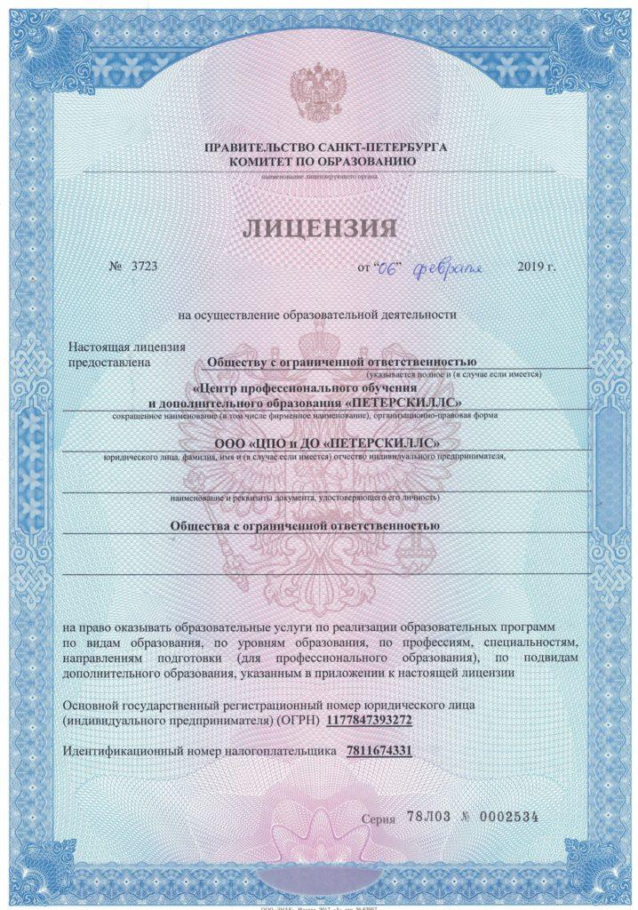 Лицензия на образовательную деятельность 1 стр.